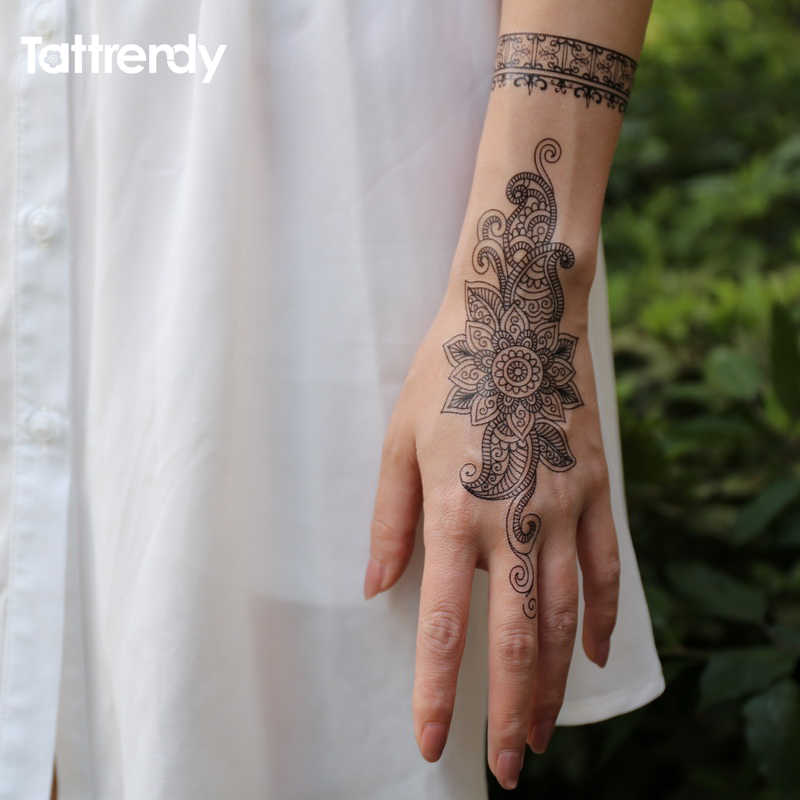 68a3346053810 ... 1piece body painting white black henna tattoo fake new lace flash  Arabic Indian rose butterfly wedding ...