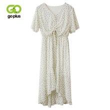 GOPLUS Summer Dress Women Beach Chiffon Polka Dot High Waist Short Sleeve V-Neck Mid-Calf A-Line Dresses Womens Elegant