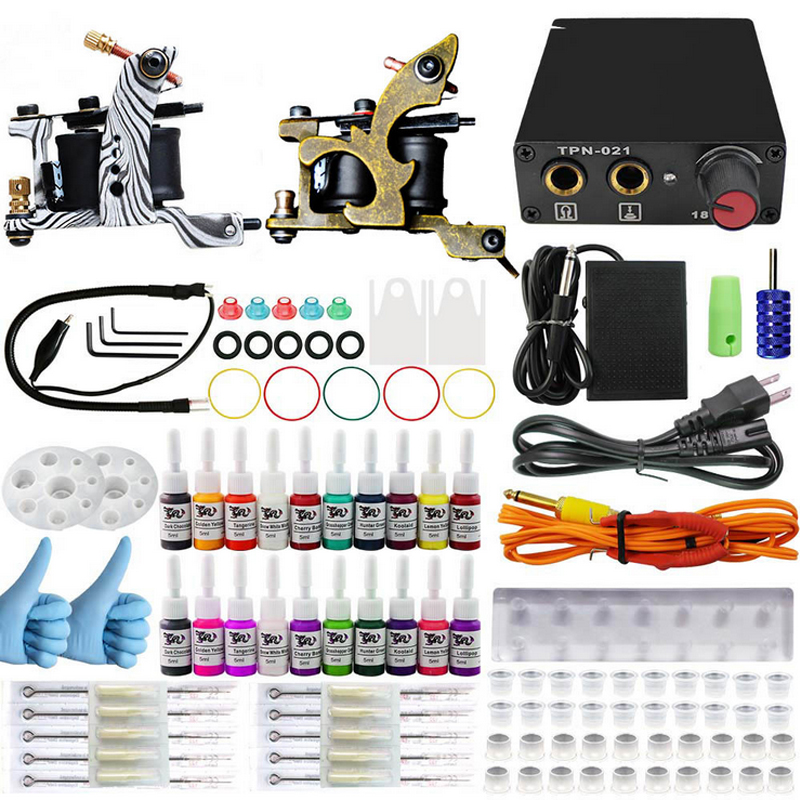 Professional  Complete Equipment Dual Tattoo 2 Machine Gun 20 Color Inks Power Supply Cord Kit Body Beauty DIY Tools Complete professional tattoo kit 5 guns complete machine equipment sets teaching cd ink for beginners body art beauty tools tk 2509 m