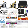 Professional  Complete Equipment Dual Tattoo 2 Machine Gun 20 Color Inks Power Supply Cord Kit Body Beauty DIY Tools Complete