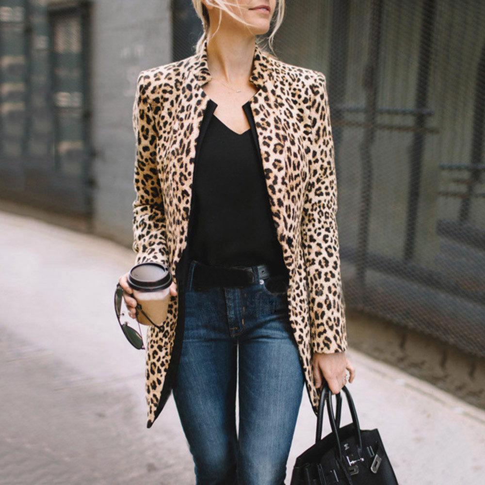 Feitong Women Leopard Printed Jacket Fashion Sexy Winter Warm Ladies Leopard Printed Wind Long Coat chaqueta mujer veste femme jeans con blazer mujer