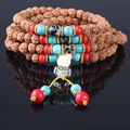 Ubeauty 6mm108 natural Rudraksha bodhi seeds beads buddha  prayer bracelet Tibetan Buddhist japa rosary necklace with turquoise