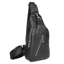 Men Genuine Leather Chest Bag Famous Brand Sling Back Pack Male Shoulder Vintage Messenger Bags 4016-