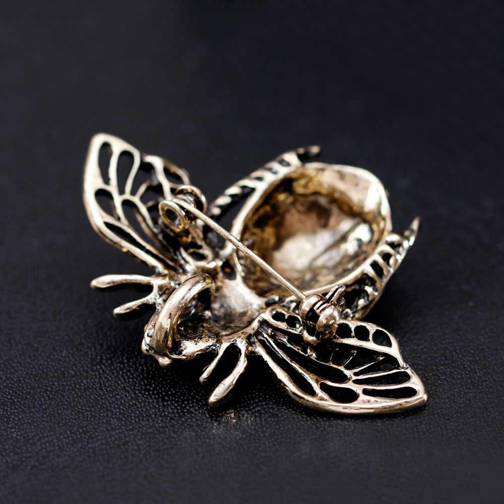 Cindy Xiang Tersedia 2 Warna Berlian Imitasi Lebah Bros untuk Wanita Warna Antik Serangga Bros Bug Perhiasan Wanita Anak-anak Hadiah Baru 2018