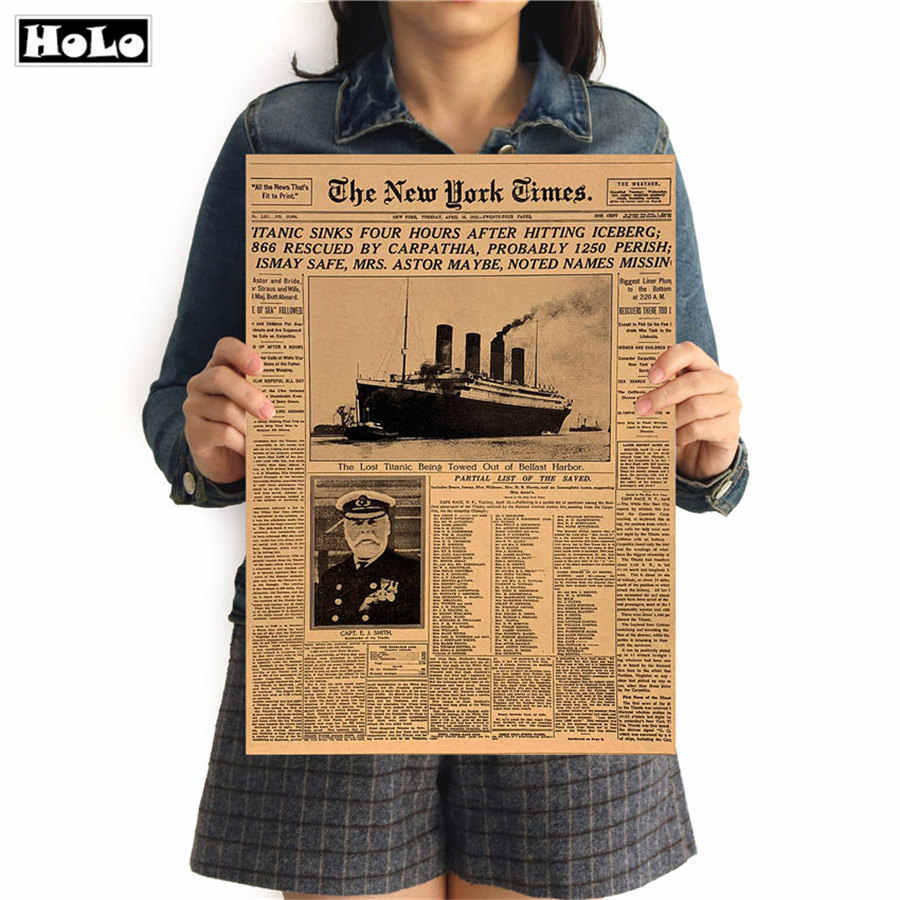 New York Times Titanic Sinks Vintage poster Old Newspaper Living Room Decor Retro kraft paper painting Art Wall sticker 42x30cm