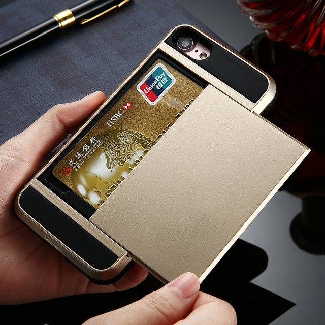 Armor Hybrid Case with Card Slot For iPhone 4 5 6 7 X Plus