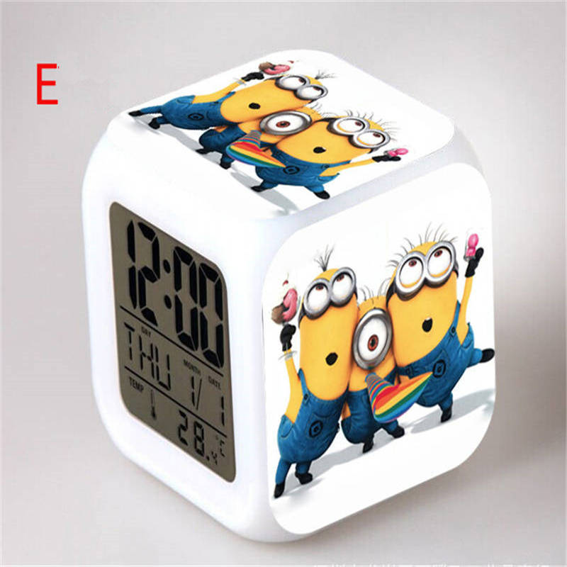 цена на New Despicable Me 3D Eye Small Minions Cartoon Character LED 7 Colors Change Digital Alarm  Thermometer As Gift for Children