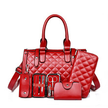 5 PCS/Set Women Bag Crocodile Pattern Composite Bag Stone Women Messenger Bags Shoulder Handbag Purse Wallet PU Leather Handbags