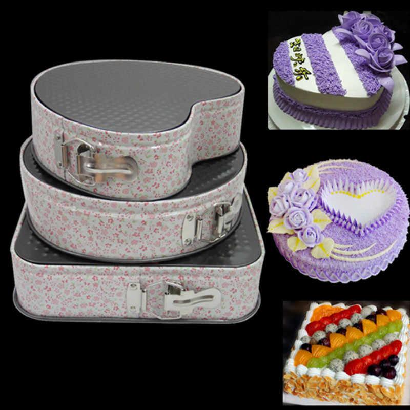 3 шт Металлические Формы для выпечки, антипригарный пирог, форма квадратная круглая в форме сердца, форма для выпечки торта, свободная основа, стальной противень для торта, формы для выпечки