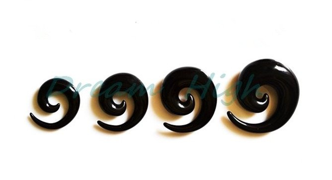 Bigger Black Spiral Expanders12mm 14 1618mm 20mm UV Acrylic each size 10pair Ear expander Plug Flesh