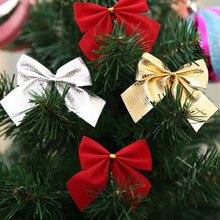 12 шт. золотой серебряный красный красивый галстук-бабочка Рождественская елка украшения рождественские ленты банты фестиваль кулон домашние бантики безделушки скидка 30