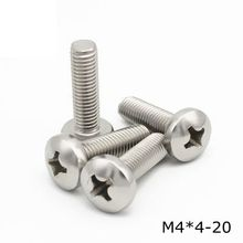 100pcs 304 Stainless Steel M4*4/5/6/8/10/12/14/16/18/20-60 Cross Recessed Pan Head Bolts Philips head Screw Metric Thread