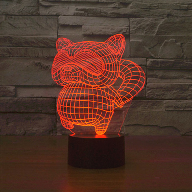 AUCD Cute Animal Raccoon 3D Visual Night Light Colorful LED Remote or Touch Table Lamp Decoration Bedroom Ambient Lights-285
