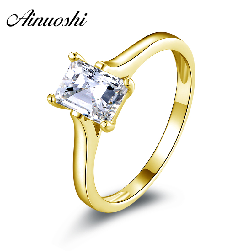 AINUOSHI 10K Solid Yellow Gold Wedding Ring 1 ct Rectangle Cut Solitaire Sona Simulated Diamond Jewelry Women Engagement Rings ainuoshi 10k solid yellow gold wedding ring 1 25 ct solitaire simulated diamond anelli donna brilliant proposal rings for women