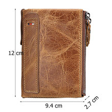 Genuine Leather Men Wallet Small Zipper Pocket Men Short Coin Purse Rfid blocking