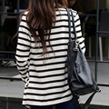 Women Striped Cardigan Long Coat Long Sleeve Jacket Casual Loose Sweater Outwear WD29