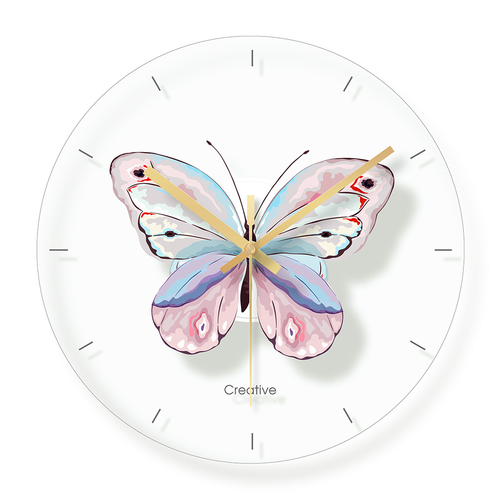 Glass Butterfly Wall Clock  For Kids Room Wall Decor Table Decorative Mute Quartz Clocks Nordic Saat Nursery Home Decoration