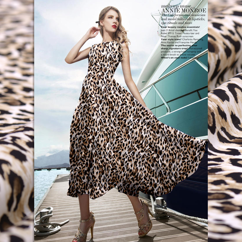 Fashion The leopard print Double Joe georgette natural silk fabric for dress shirt christmas seda patchwork