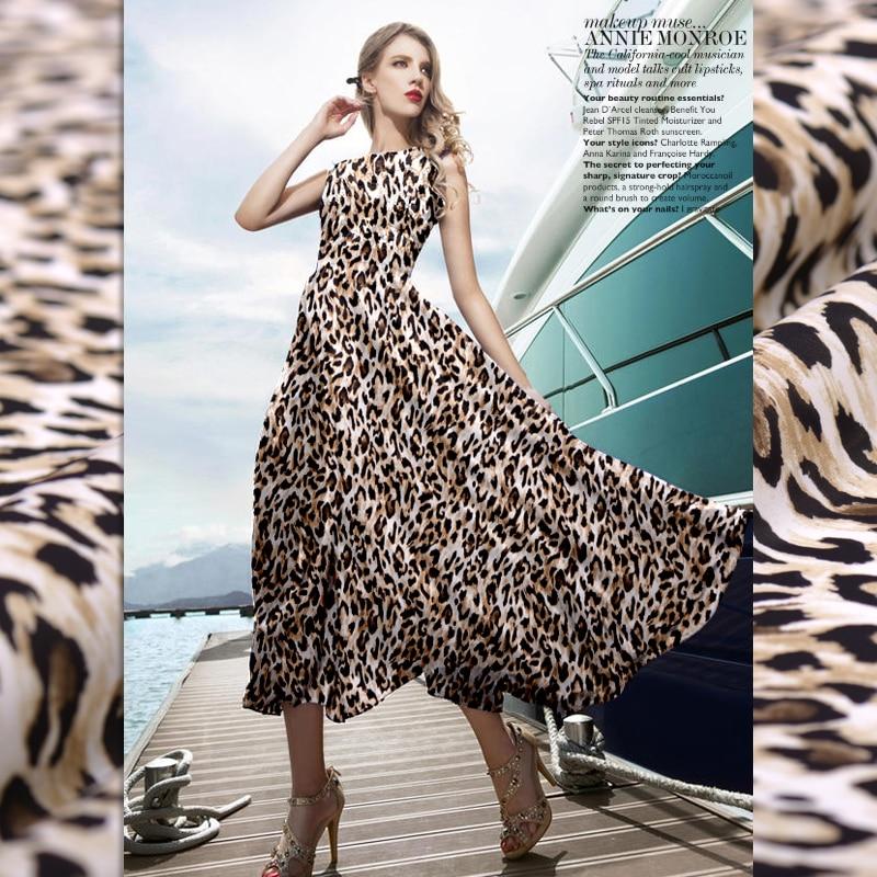 Fashion The leopard print Double Joe georgette natural silk fabric for dress shirt christmas seda patchwork