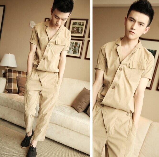 6d620ca538d0 2015 New Summer Korean Men s Fashion Short-sleeve Loose One piece Rompers  Hiphop Tooling Jumpsuit Khaki Overalls Harem Pants