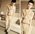 2015 New Summer Korean Men's Fashion Short-sleeve Loose One piece Rompers Hiphop Tooling Jumpsuit Khaki Overalls Harem Pants