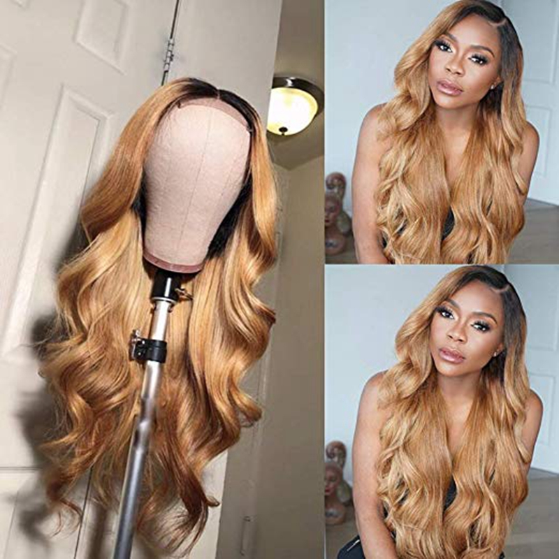 1B/27 Lace Front Human Hair Wigs With Baby Hair Wavy Pre Plucked Ombre Color Brazilian Blonde Hair Wigs For Women Bleach Knots-in Human Hair Lace Wigs from Hair Extensions & Wigs