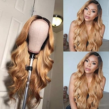 1B/27 Lace Front Human Hair Wigs With Baby Hair Wavy Pre Plucked Ombre Color Brazilian Blonde Hair Wigs For Women Bleach Knots