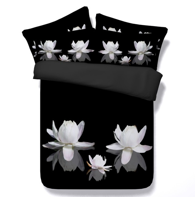 Black and white bedding floral comforter set 3d lily duvet cover bed black and white bedding floral comforter set 3d lily duvet cover bed in a bag sheet mightylinksfo