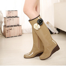 New female fashion rainboots camellia women's water shoes rubber shoes martin boots overstrung