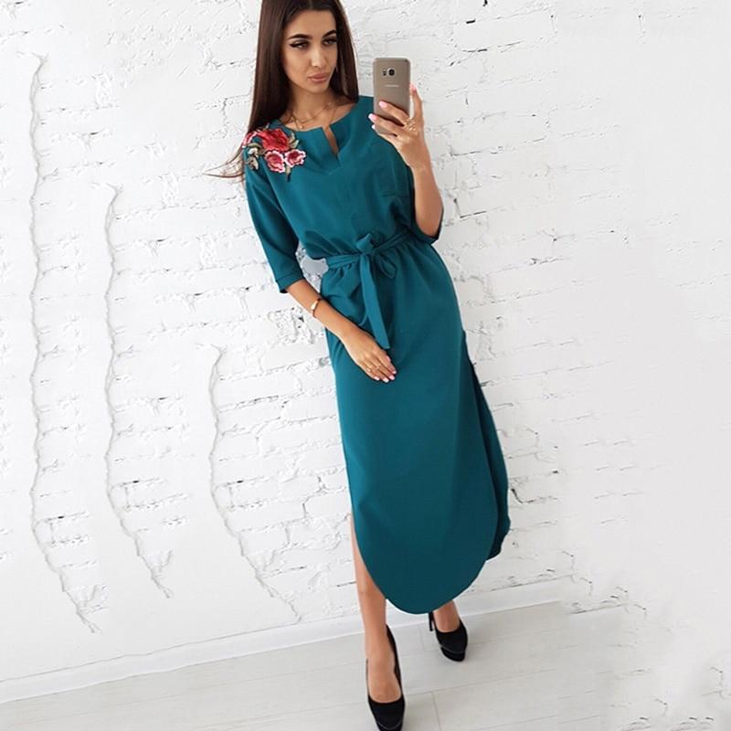Hem Rose Appliques Dress Women Side Split Curved Half Sleeves Casual Long Dresses S Red 5
