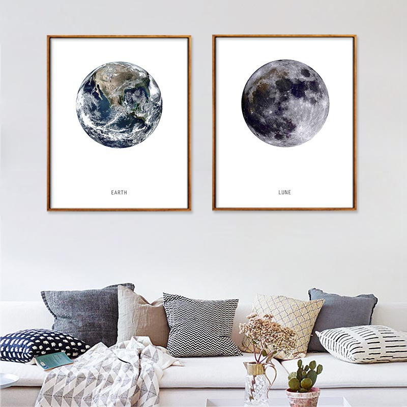 Canvas Poster Pictures Unframed-Decor Spray Wall Earth-Moon Nordic-Art Home Waterproof