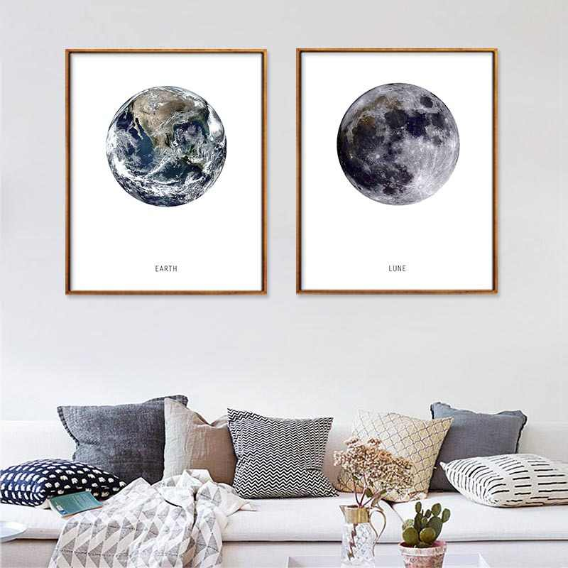 Earth Moon Nordic Art Canvas Painting Wall Waterproof Pictures Spray Ink Unframed Decor Canvas Poster Home Office Decor Picture