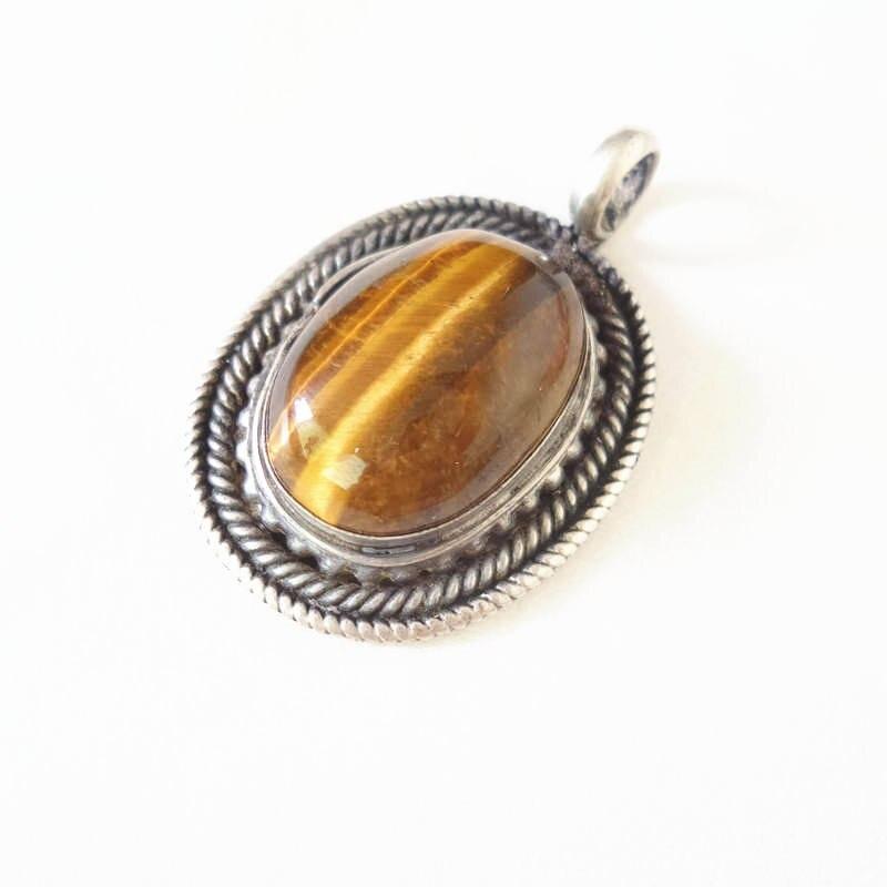 Wholesale 5pcs naturelle oeil de tigre croix pierre pendentifs argent P Pendentif Perles