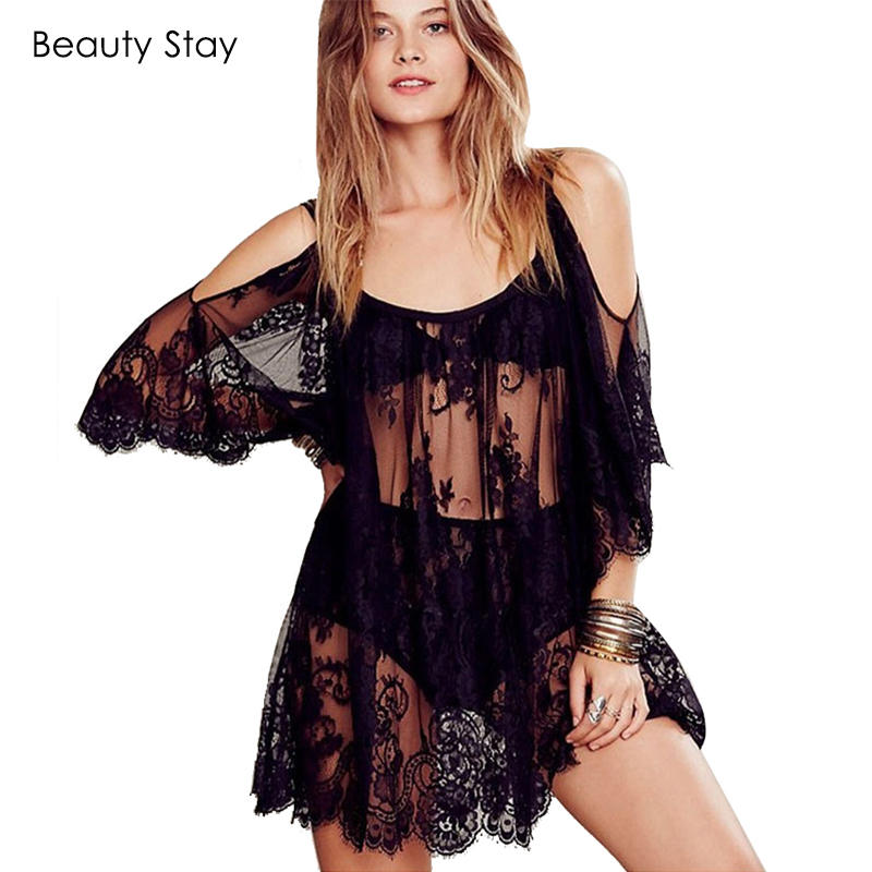 Beautystay mujeres sexy beach summer dress boho floral de la correa del bordado