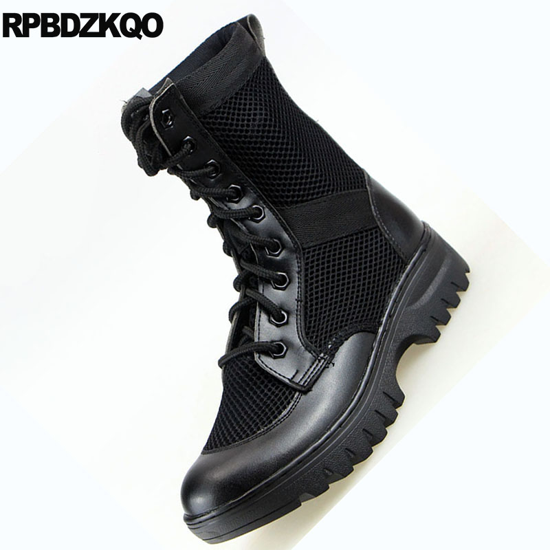 dce665e6ba46 Army Lace Up Desert Ankle Outdoor Retro Combat Boots Plus Size Shoes Thick  Soled 2018 Tactical Military Cheap Men Mesh Black-in Basic Boots from Shoes  on ...