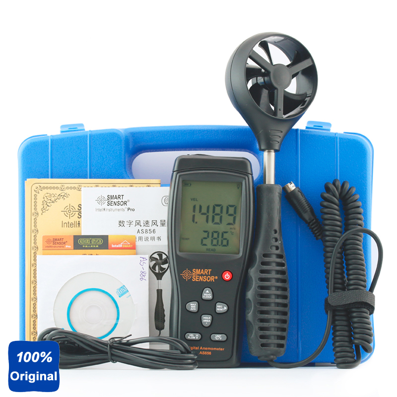 100% Original AS856 0.3-45M/S Hand-held Digital Anemometer Thermometer Air Speed Meter цена
