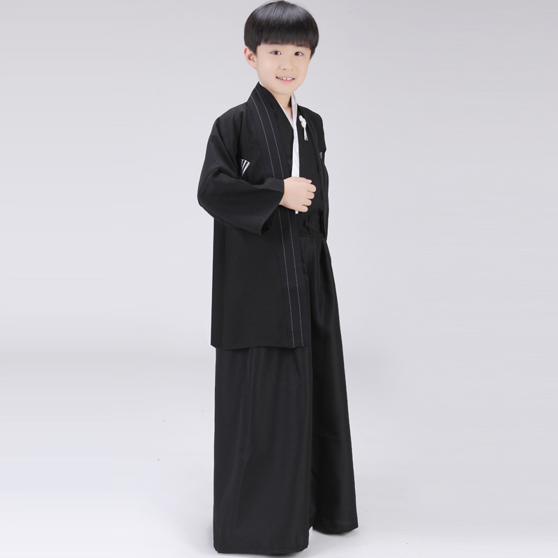 Siyah Japon Erkek Kimono Çocuk Savaşçı Geleneksel Kılıçlı - Ulusal Kıyafetler - Fotoğraf 3