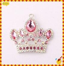 Envío gratis 10 unids/lote rosa Chunky Crown cabeza colgante de collar Rhinestone para hechos a mano Chunky collar colgante para los niños de la joyería
