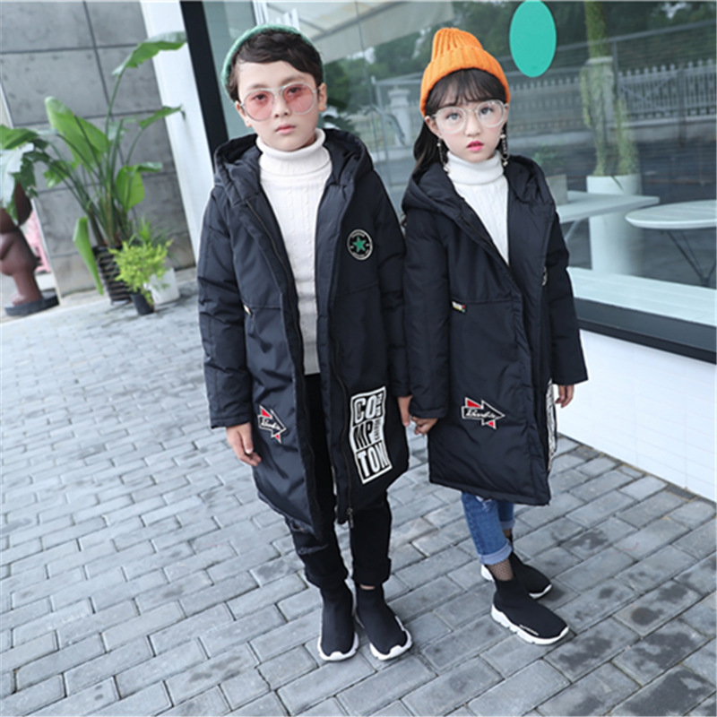 2017 down long jacket for boys girls in autumn winter to keep warm children clothes coat fluff outwear baby kids winter clothes 2017 children winter clothes boys and girls down jacket long 90