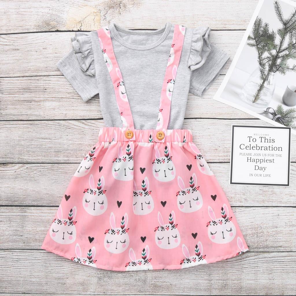 Kids Baby Girl Pasen t-shirt Tops Bunny Jarretel Rok Overalls Kleding Cute Girl Set Jongens Kleding Erkek Cocuk Kiyafetler