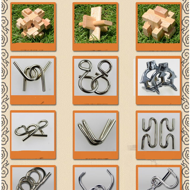 28PCS LOT Wood Metal Puzzles CD Toys Classic IQ 3D Interlocking Burr Puzzles Mind Brain Teaser