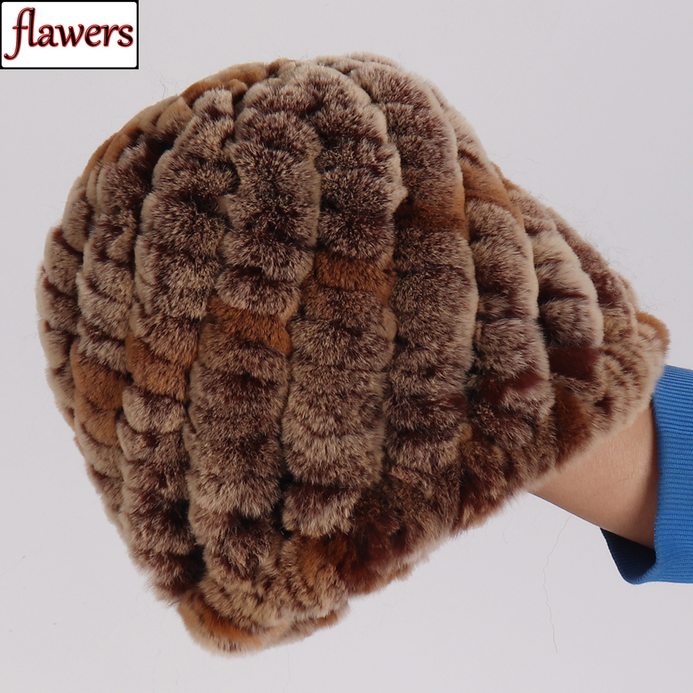 Striped Winter Female Natural Rex Rabbit Fur Hat Women Handmake Real Fur Cap Warm Knit Elastic Genuine Fur   Skullies     Beanies   Hats