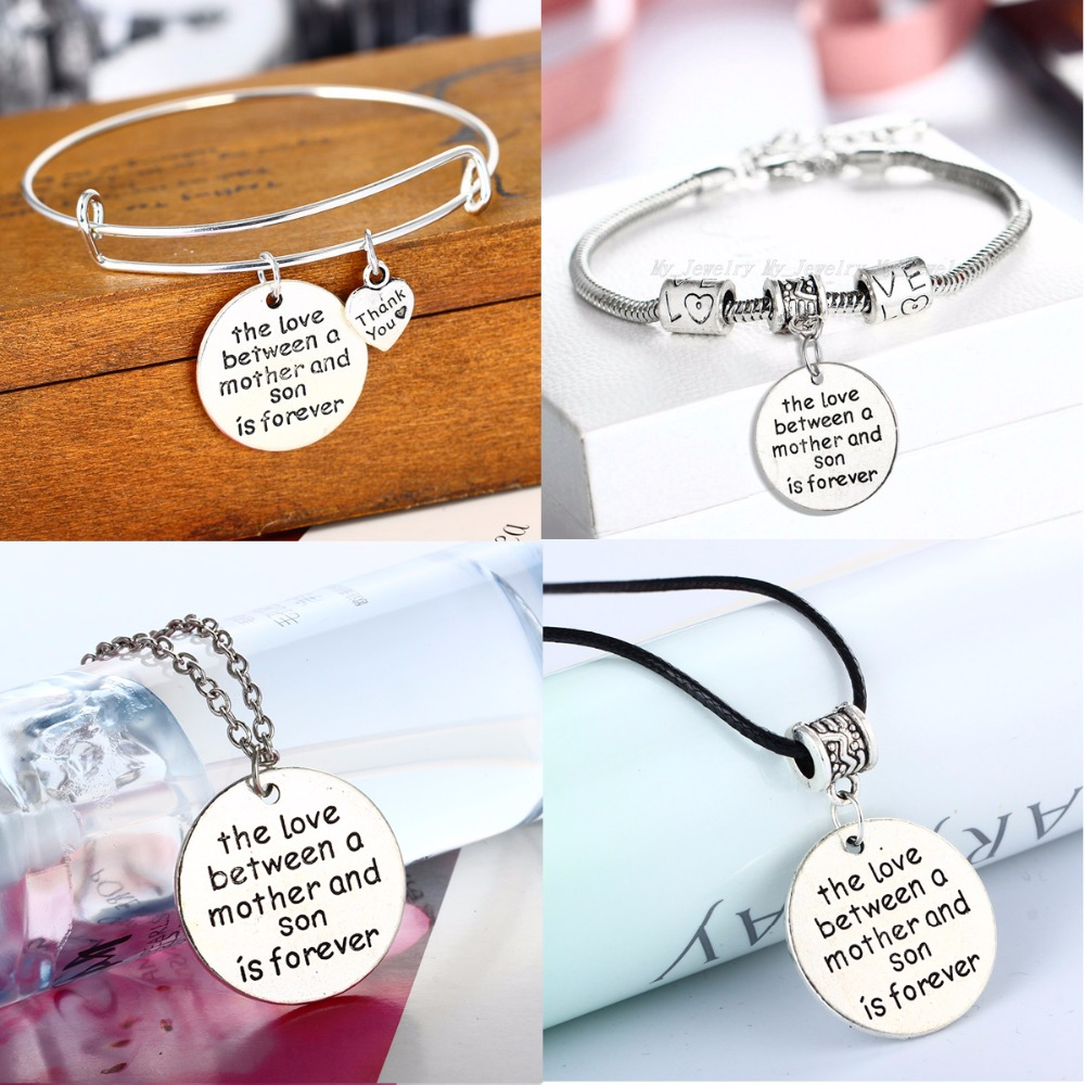 New Mom Mother And Son Love Forever Pendant Leather Chain Necklace Bracelet Bangle Gifts For Mommy Mum Boys Family Charm Jewelry image