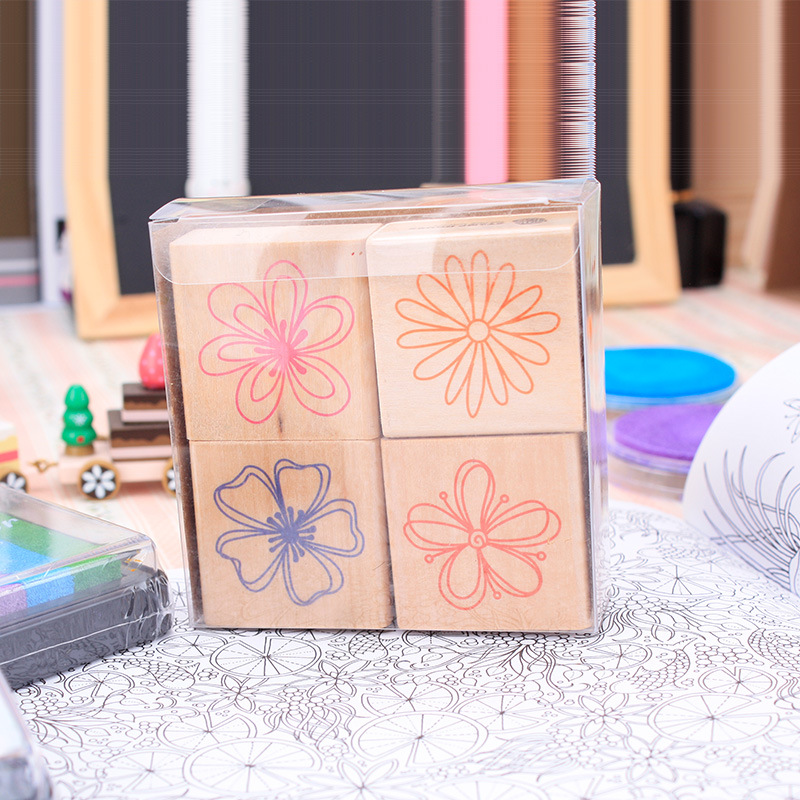 4pc/SET Assorted Retro Vintage Sweet Flower Pattern Wooden Rubber Stamp Scrapbook DIY Floral Lace Decoration Stamp High Quality цифровая камера other great create lisa pavelka rubber stamp set exotique strip