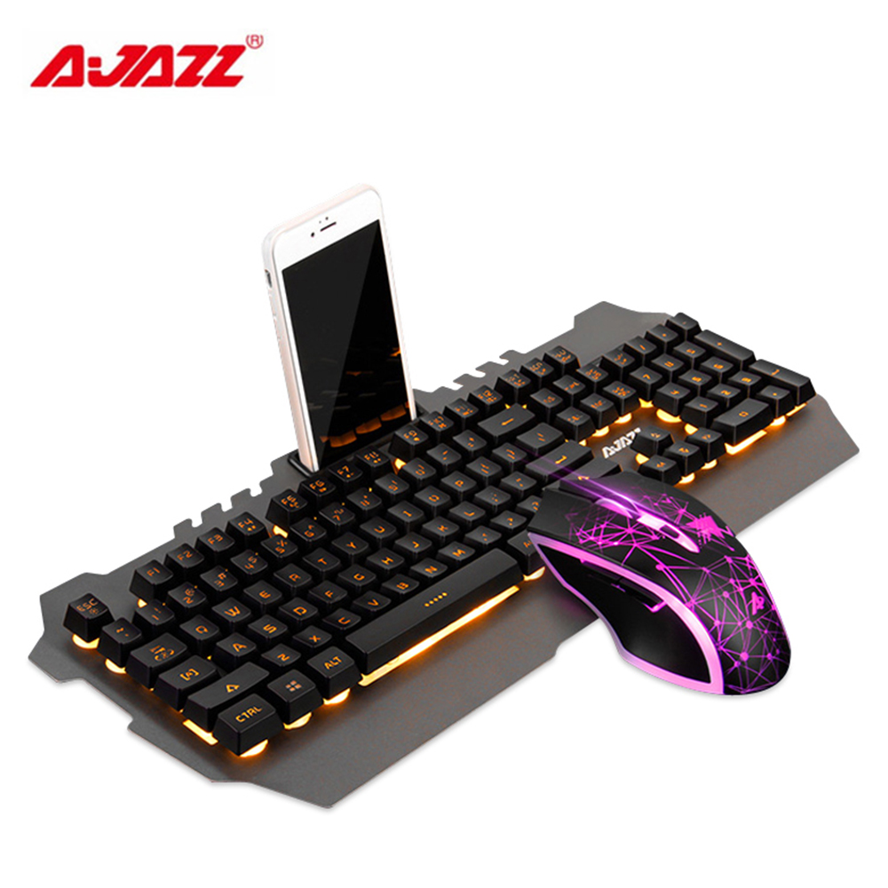Ajazz Mechanical Wolf Wired Gaming Keyboard & Mouse Combos 104 Keys Backlit Keyboard 3200DPI Mouse For Laptop/PC/Computer Gamer new 104 keys ajazz ak35i wired white led backlit usb ergonomic illuminated mechanical gaming keyboard gamer for laptop computer page 5
