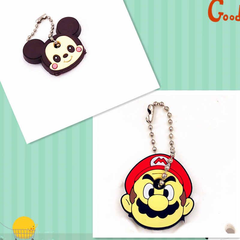 2 Pcs Melodia Urso Dos Desenhos Animados Mickey Minnie Monstro chaveiro tampa chave tampa de Silicone mulheres Totoro anime chaveiro