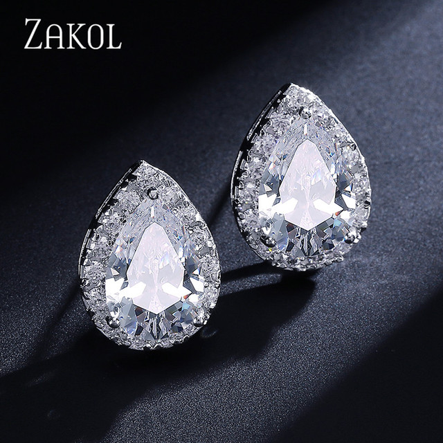 ZAKOL Fashion Big Pear Cubic Zircon Stud Earrings with Tiny Crystal Exquisite Sliver Color Bridal Wedding Jewelry Aretes FSEP001