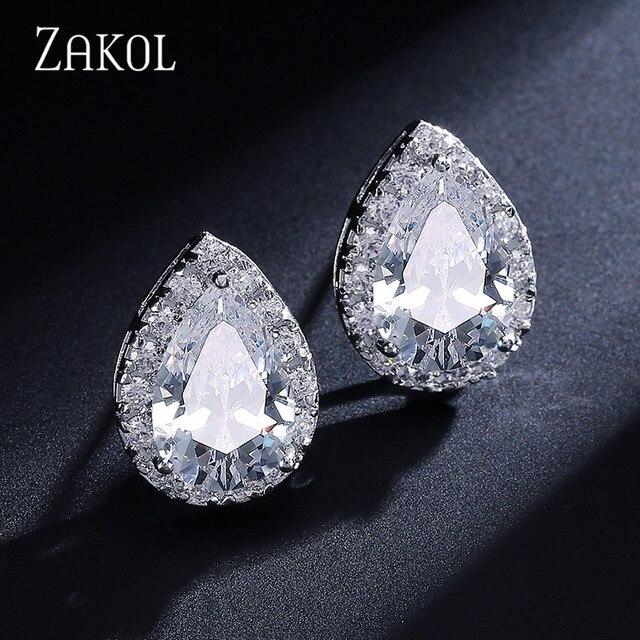 ZAKOL أزياء كبير الكمثرى مكعب الزركون أقراط مع كريستال صغيرة رائعة الأبيض اللون الزفاف مجوهرات الزفاف Aretes FSEP001