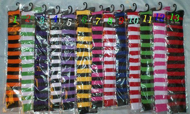 Moda 2015 poliester rayas sobre la rodilla calcetines de colores largo gruesas envío gratis SWS01 survival