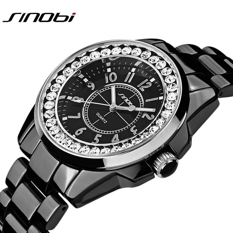 Bling Rhinestone SINOBI Luxury Steel Quartz Watch Women Clock Female Ladies Dress Wristwatch Gift Silver Gold 2016 Relojes Mujer rhinestone sk top luxury brand steel quartz watch fashion women clock female lady dress wristwatch gift silver gold motre femme
